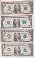 Etats-Unis. 4 Billets De 1 Dollar 1981 1988 1993 1999, Circulés. - Billets De La Federal Reserve (1928-...)