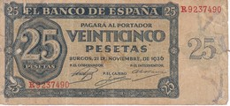 BILLETE DE ESPAÑA DE 25 PTAS DEL 21/11/1936 SERIE R CALIDAD  RC (BANKNOTE) - [ 3] 1936-1975: Regime Van Franco