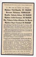 Bidprentje Oorlog Guerre War WOII Zes Personen DE MARSIN , VERMAELEN Kortrijk-Dutsel+29-12-1944 Bomaanval Kortrijk - Devotion Images