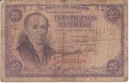 BILLETE DE ESPAÑA DE 25 PTAS DEL 19/02/1946 SERIE H  CALIDAD RC (BANKNOTE) - [ 3] 1936-1975: Regime Van Franco