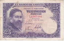 BILLETE DE ESPAÑA DE 25 PTAS DEL AÑO 1954 ISAAC ALBENIZ  SERIE L - [ 3] 1936-1975: Regime Van Franco