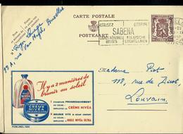 Publibel Obl. N° 920  ( Crème NIVEA  Et Huile) Obl. Bxl + Flamme Sabena 1950 - Stamped Stationery