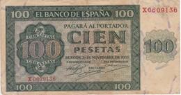 BILLETE DE ESPAÑA DE 100 PTAS 20/05/1936 SERIE X  (BANK NOTE) - 100 Pesetas