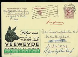Publibel Obl. N° 2250  ( Contre La Cruauté Envers  Les Animaux : VEEWEYDE- Dog - Chien) Obl. Léopldssburg  1967 - Stamped Stationery
