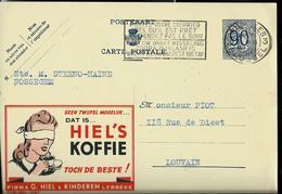 Publibel Obl. N° 1067 (Koffie HIEL'S - Lebbeke) Obl. Bxl 3 Du 05/11/1952 - Stamped Stationery