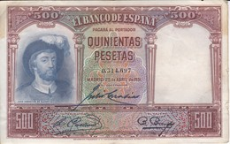 BILLETE DE ESPAÑA DE 500 PTAS DEL AÑO 1931 SIN SERIE - [ 1] …-1931 : Prime Banconote (Banco De España)