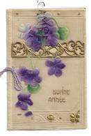Mignonnette De Vœux. Bouquet De Violettes, Barrière Dorée, Nœud. Translucide,relief. - Nouvel An