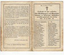 Bidprentje Oorlog Guerre War WOI & WOII 1914-1918 , 1944-1945 Militaire En Burgerslachtoffers Bredene 11-11-1944 Bredene - Devotion Images