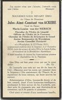 DP. JULES VAN ACKERE ° WEVELGHEM 1851- + 1934  -GEWEZEN  BURGEMEESTER VAN WEVELGHEM +NEDERLANDSE KANT - Godsdienst & Esoterisme