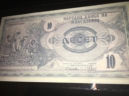 See Photos. MACEDONIA 10 Dinara, 1992, UNC Banknote - Macedonië