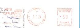 EMA-Cachet Rouge-Paris-R.La Pérouse (16e)-Hotel Keppler-12, Rue Keppler--Tarif *50-SJ 1658-1974 - Marcophilie (Lettres)