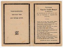 Bidprentje Oorlog Guerre War WOII Roger VAN DE VELDE BERLARE Partisaan Partisanenkorps 032 + 20-10-1944 Caprijcke - Devotion Images