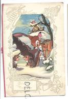 Collage D'une Carte Postale Dans Une Carte à Fenêtre. Bambi Et Deux Lapins Sous Un Parapluie Dans La Neige. Paillettes. - Nouvel An