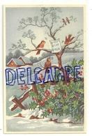 Paysage Enneigé, Rouges-gorges Et Houx. Coloprint 53718 - Nouvel An