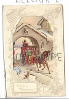Collage D'une Carte Postale Dans Une Carte à Fenêtre. Une Calèche Entre Dans Une Ville Enneigée. - Nouvel An