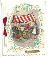 Collage D'une Carte Postale Dans Une Carte à Fenêtre. Une Marchande De Fleurs. Paillettes. - Nouvel An