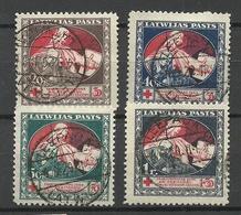 LATVIA Lettland 1920 Michel 51 - 54 Z O Nice Cancels/gut Gestempelt Leepaja - Lettland