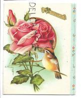 Roses Et Oiseau Jaune. Signée C. Vive. - Anniversaire