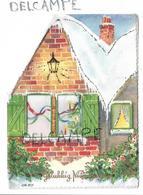 Maison Sous La Neige, Fenêtre Plastifiée. Verre De Champagne.Signée GD - Nouvel An