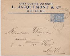 OSTENDE L JACQUEMONT DISTILLERIE DU CERF ENVELOPPE PUBLICITAIRE TRIPLE SEC ORANGE ANNEE 1899 AVEC VIGNETTE JACQUEMONT - Food