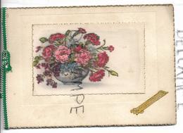 Bouquet D'œillets Dans Un Vase. Dorée, Ficelle, Paillettes, Dentelée. - Anniversaire