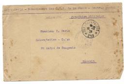TROUPES DE LA SARRE HENRIN SERIN COA TRESOR ET POSTES 219 POUR ST ANDRE DE SANGONIS HERAULT - SUR ENVELOPPE - MILITAIRE - Marcophilie (Lettres)