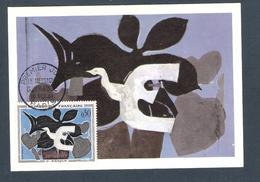 """1961 - N° 1319 - SÉRIE TABLEAUX / """"LE MESSAGER """" De G.BRAQUE - Carte A.D.A.G.P. Fernand Hazan Editeur / PARIS 10/11/61 - Cartes-Maximum"""