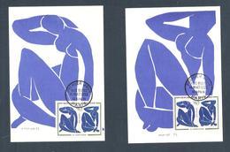 """1961 - N° 1320 - SÉRIE TABLEAUX / """" NUS BLEUS """" De H. MATISSE - 2 Cartes  Fernand Hazan Editeur / PARIS 10/11/61 - Cartes-Maximum"""