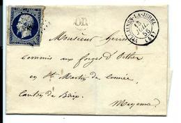 PC 3585 - VILLAINES La JUHEL 1856 Sur Lettre + Cachet OR ( Mayenne ) - 1849-1876: Période Classique