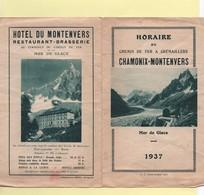 Horaire Chemin De Fer à Crémaillères Chamonix-Montenvers 1937 - Europe