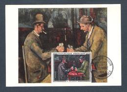 """1961 - N° 1321 - TABLEAUX / """" LA PARTIE DE CARTES """" De P. CEZANNE - Carte Fernand Hazan Edit / AIX En PROVENCE 10/11/61 - Cartes-Maximum"""