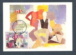 """1961 - N° 1322 - TABLEAUX / """" LE 14 JUILLET """" De De LA FRESNAYE - Carte Fernand Hazan Edit / PARIS 10/11/61 - Cartes-Maximum"""