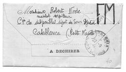 ST CYPRIEN TUNISIE ROBERT NODE MATELOT TORPILLEUR CIE DISPONIBLES SOUR DJEDID CASABLANCA POSTE NAVALE - LETTRE MILITAIRE - 1939-45