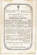 WESTMALLE / VORSELAAR / EINDHOUT - E.H. Franciscus PEETERS - Geboren 1801 En Overleden 1868 - Devotion Images