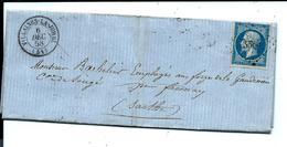 PC 3585 - VILLAINES La JUHEL 1858 Sur Lettre BRUNEAU RONDEAU VINS & SPIRITUEUX ( Mayenne ) - 1849-1876: Période Classique