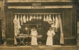 "Caen - Carte Photo - Devanture "" Boucherie C. HEUDIER "" - Commerce Magasin Boucher - Belle Animation - Caen"
