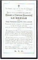 ANTWERPEN - Comtesse Douairière LE GRELLE - Née Anne Françoise VAN LANCKER - Overleden 1872 - (Franstalig) - Devotion Images