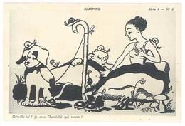 Cpsm Illustrateur Signée P.J.B - Camping ( Couple, Escargots, Chien, Champignon ) - Altre Illustrazioni