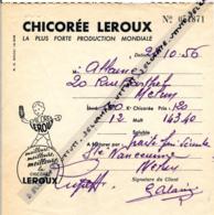 CHICOREE LEROUX (24 Octobre 1956), Commande De 100 Kgs, Melun, Logo, Publicité (2 Scans) - 1950 - ...
