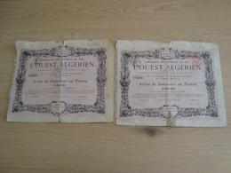LOT DE 2 ACTIONS JOUISSANCE AU PORTEUR CHEMIN DE FER L'OUEST ALGERIEN 1881 - Chemin De Fer & Tramway