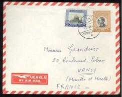 Marcophilie - Lettre De Jerusalem Palestine à Nancy - 1963 - Timbres Jordaniens - Palestine