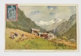 Cartolina Illustrata Artistica Val Di Gressoney (AO) Timbro Di Bari Centro, Anno 1928 - Marcofilía