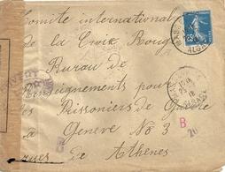 France Lettre Comité De La Croix Rouge Pour Le Bureau Des Prisionniers à Genève - France