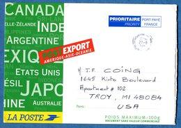 Enveloppe Carton POSTEXPORT 100 Grammes Amérique Asie Océanie Destination TROY USA - Documents De La Poste