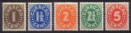 Curacao NVPH Nr 121/125 Ongebruikt/MH Cijfer 1936 - Curacao, Netherlands Antilles, Aruba