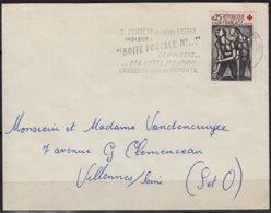 """CROIX ROUGE  """" L'aveugle...""""   Y.T.1324  SEUL Sur Enveloppe  Postée à  62 BOULOGNE Sur MER P.de.C. En 1962 - Marcophilie (Lettres)"""