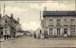 Cp Vailly Sur Aisne, Rue Du Faubourg De La Riviere, Café Restaurant De La Gare, Faule Marly - Autres Communes