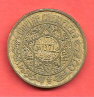 50 Francs , MAROC , Alu-Bronze , AH 1371 , N° KM # 51 - Colonies
