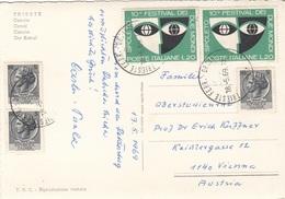 ITALIEN - 5 Fach Frankierung Auf Ak TRIESTE, Gel.1969 - 6. 1946-.. Republic