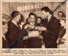 1958, Philippe Clay, Georges Carpentier Remettant La Ceinture De Champion De France à François Anewy, Pub Dubonnet, Boxe - Boxing